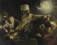 Rembrandt: Belshazzar's Feast, circa 1636–1638, showing the moment when a divine hand appeared before the Babylonian King Belshazzar and wrote on the wall a phrase interpreted by Daniel to mean: 'God has numbered the days of your kingdom and brought it to an end; you have been weighed in the balances and found wanting; your kingdom is given to the Medes and Persians.' Belshazzar was slain that night.