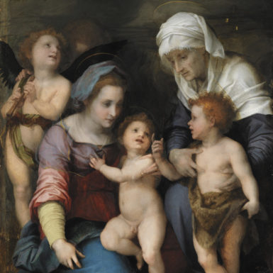 Andrea del Sarto: The Holy Family with John the Baptist, Elizabeth, and Two Angels, circa 1514; from the collection of the Alte Pinakothek, Munich