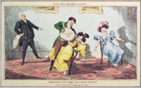 An 1830 caricature of the medical uses of nitrous oxide, or laughing gas, the euphoric effects of which were first investigated in 1799 by Humphry Davy