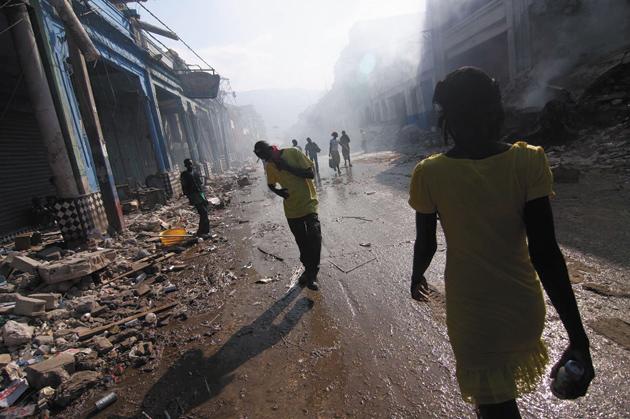 Survivors of the Haiti earthquake on Grand Rue, the main street in Port-au-Prince, January 18, 2010