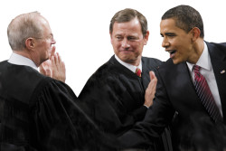 Supreme Court Justice Anthony Kennedy and Chief Justice John Roberts with President Barack Obama just before he addressed a joint session of Congress, February 24, 2009