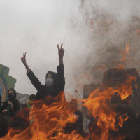 Opposition protesters at a rally in Tehran on the Shiite holiday of Ashura, December 27, 2009