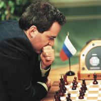 Garry Kasparov during his rematch against the IBM supercomputer Deep Blue, 1997
