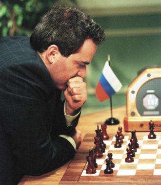 Garry Kasparov during his rematch against the IBM supercomputer Deep Blue, 1997