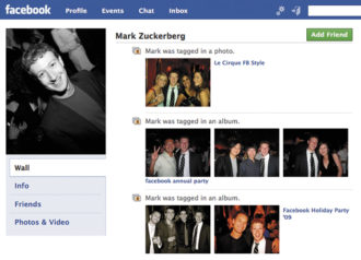 A screen shot of part of Facebook founder Mark Zuckerberg's own Facebook page