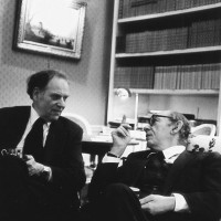 Isaiah Berlin with Sidney Morgenbesser, a professor of philosophy at Columbia, New York City, 1980s