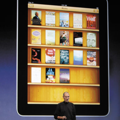Steve Jobs discussing the iBooks application for the Apple iPad at its debut in San Francisco, January 27, 2010