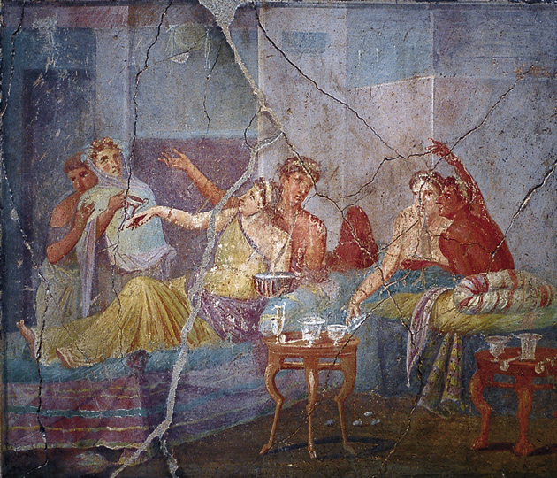 A painting in the Chaste Lovers bakery, Pompeii; from Mary Beard's The Fires of Vesuvius. 'At first sight an elegant scene,' Beard writes, 'with comfortable cushions and drapes, and glass vessels set out neatly on the table. But the woman behind is