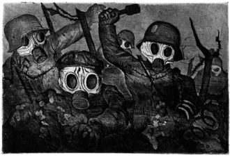 Otto Dix: Shock Troops Advance under Gas, 1924; etching from the exhibition 'Otto Dix,' at the Neue Galerie, New York City, March 11–August 30, 2010. The catalog is edited by Olaf Peters and published by Prestel.