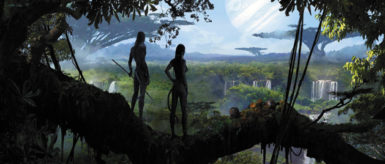 Jake Sully's avatar and Neytiri, his Na'vi love interest, looking out over the landscape of Pandora in James Cameron's film Avatar