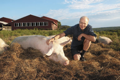 Peter Singer at Farm Sanctuary, a shelter in upstate New York for animals that have been rescued from stockyards, factory farms, and slaughterhouses, August 2006