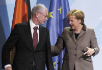 Herman Van Rompuy, the first permanent president of the European Council, with German Chancellor Angela Merkel, Berlin, January 13, 2010