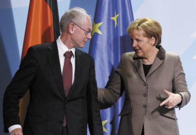Herman Van Rompuy, the first permanent president of the European Council, with German Chancellor Angela Merkel, Berlin, January 13, 2010
