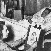 Brad Leithauser's mother-in-law, Lormina Paradise, sketching a hospitalized American soldier just after World War II; this photograph and some of her drawings appear as illustrations in Leithauser's new novel, The Art Student's War