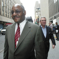 Gerald Boyd, the managing editor of The New York Times, and Howell Raines, the executive editor, on their way to a meeting about the Jayson Blair scandal, New York City, May 14, 2003