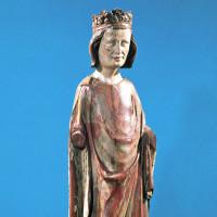 King Louis IX; polychrome wooden statue, fourteenth century
