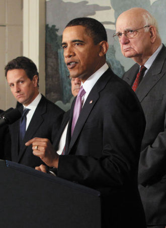 President Barack Obama delivering a statement about financial reform at the White House, January 21, 2010. With him are Treasury Secretary Timothy Geithner, Representative Barney Frank, and Economic Recovery Advisory Board Chairman Paul Volcker.