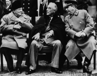 Winston Churchill, Franklin Roosevelt, and Josef Stalin at the Yalta conference, 