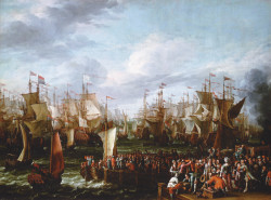 'William of Orange sets out to invade the British Isles,' 1688; painting in the style of Abraham Stock; illustrations from Lisa Jardine's <i>Going Dutch</i>