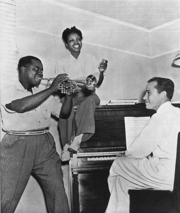 Johnny Mercer with Louis Armstrong and Maxine Sullivan, each of whom made recordings of Mercer's songs; illustrations from The Complete Lyrics of Johnny Mercer