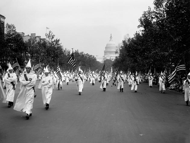 Members of the Ku Klux Klan parading in Washington, D.C., September 1926