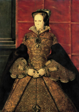 Mary Tudor during her first year as queen; painting by Hans Eworth, 1554. According to Eamon Duffy in Fires of Faith, she is wearing 'a Tao cross on a choker of pearls at her neck, and hanging from her girdle is a gilt-enamel reliquary with emblems of the Four Evangelists. Relics were denounced and destroyed by Mary's father and her brother: to display this restored reliquary in an official portrait was an overt declaration of the queen's religious agenda.'