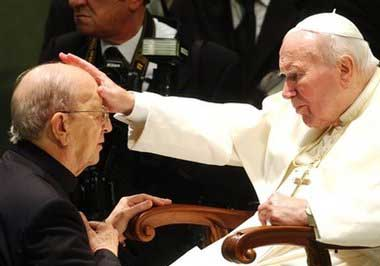 Pope John Paul II blesses Father Marcial Maciel, November 2004.jpg