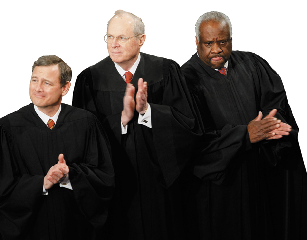 Supreme Court Justices John Roberts, Anthony Kennedy—who wrote the Court's decision in Citizens United v. FEC—and Clarence Thomas at President Obama's first address to a joint session of Congress, February 24, 2009