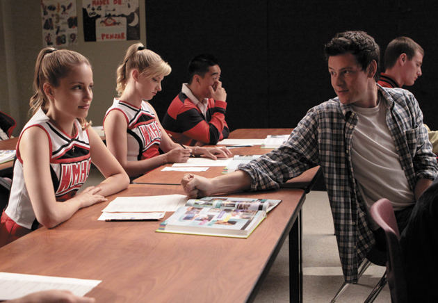 Dianna Agron, front left, and Cory Monteith, front right, in the television series Glee