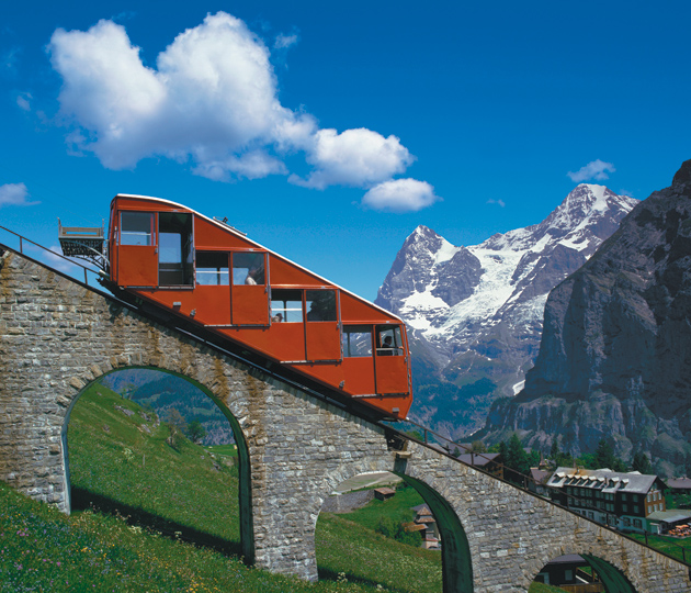 The funicular above Mürren, with a view of the Jungfrau in the Bernese Alps