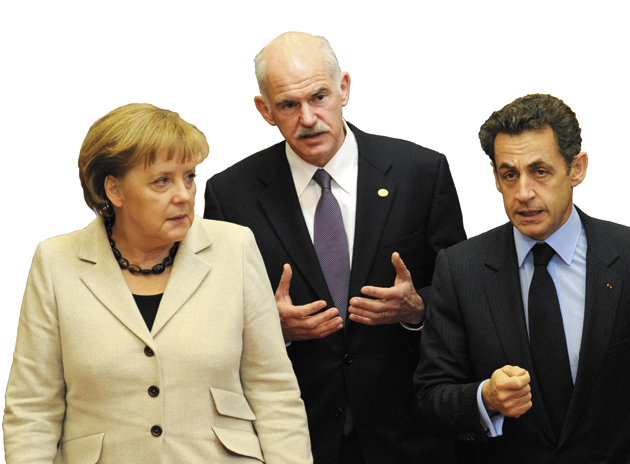 German Chancellor Angela Merkel, Greek Prime Minister George Papandreou, and French President Nicolas Sarkozy at an EU summit in Brussels, where Greece's debt crisis dominated discussions about broader economic reform, February 11, 2010