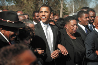Barack Obama at a march to commemorate the 1965 Voting Rights March in Selma, Alabama, March 4, 2007