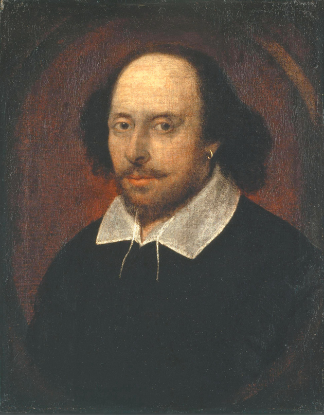 The Chandos portrait of William Shakespeare, circa 1610. According to James Shapiro in Contested Will, when Freud saw this portrait in London in 1908, he thought that the face looked 'completely un-English' and 'began to suspect that Shakespeare was of Fr