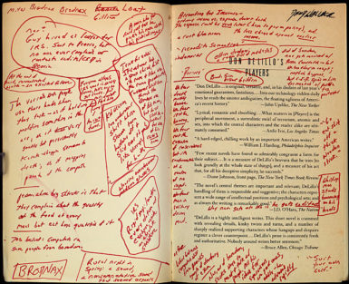Inside cover of David Foster Wallace's annotated copy of Don DeLillo's Players