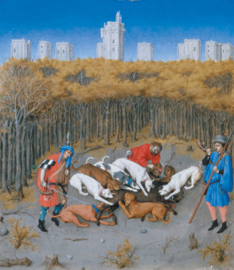 The Limbourg Brothers: 'Boar Hunt,' with the Château de Vincennes in the background; detail of a calendar miniature from the Très Riches Heures du Duc de Berry, 1416