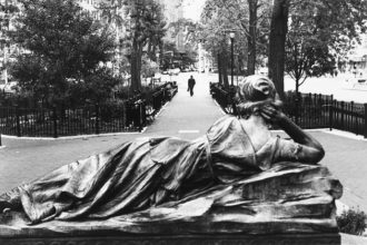 The statue of Mnemosyne, the goddess of memory, in Straus Park on the Upper West Side of Manhattan, where the narrator of André Aciman's new novel pauses every night to think about his elusive friend Clara