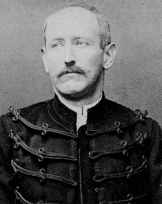 Alfred Dreyfus in a police photograph by Alphonse Bertillon immediately after the military degradation ceremony that followed his conviction for treason, January 1895