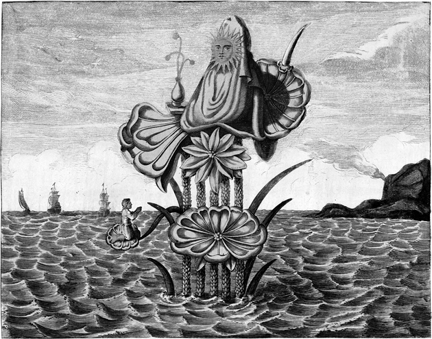 """'Puzza, or the """"the Chinese Cybele,"""" sitting on a lotus flower'; engraving by Bernard Picart from Religious Ceremonies and Customs of All the Peoples of the World, 1720s"""