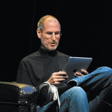 Apple CEO Steve Jobs introducing the iPad at the Yerba Buena Center for the Arts, San Francisco, January 27, 2010