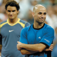 Andre Agassi and Roger Federer at the 2005 US Open, just after Federer defeated Agassi in the men's final