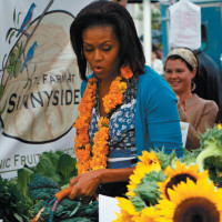 Michelle Obama at a farmers' market near the White House, September 17, 2009