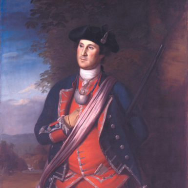 George Washington as Colonel of the Virginia Regiment; painting by Charles Willson Peale, 1772