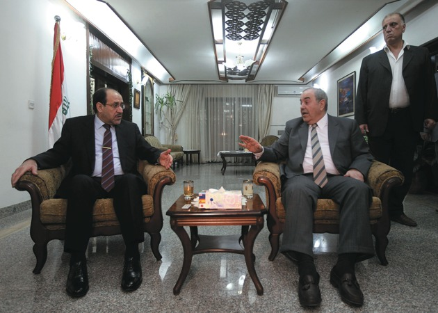 Prime Minister Nouri al-Maliki meeting with Iyad Allawi, the head of the al-Iraqiya alliance, Baghdad, June 29, 2010