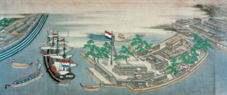 The Dutch trading settlement on the artificial island of Dejima, Nagasaki Bay, Japan, 1804