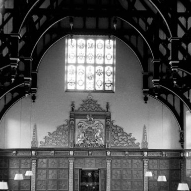 High table in the dining hall at Trinity College, Cambridge, 1958