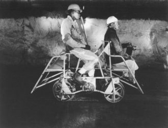 David Goldbatt: Team Leader and Mine Captain on a Pedal Car in the Rustenburg Platinum Mine, Rustenburg, 1971. For a slideshow of the photographs discussed in this review, see the NYR blog, nybooks.test/blogs.