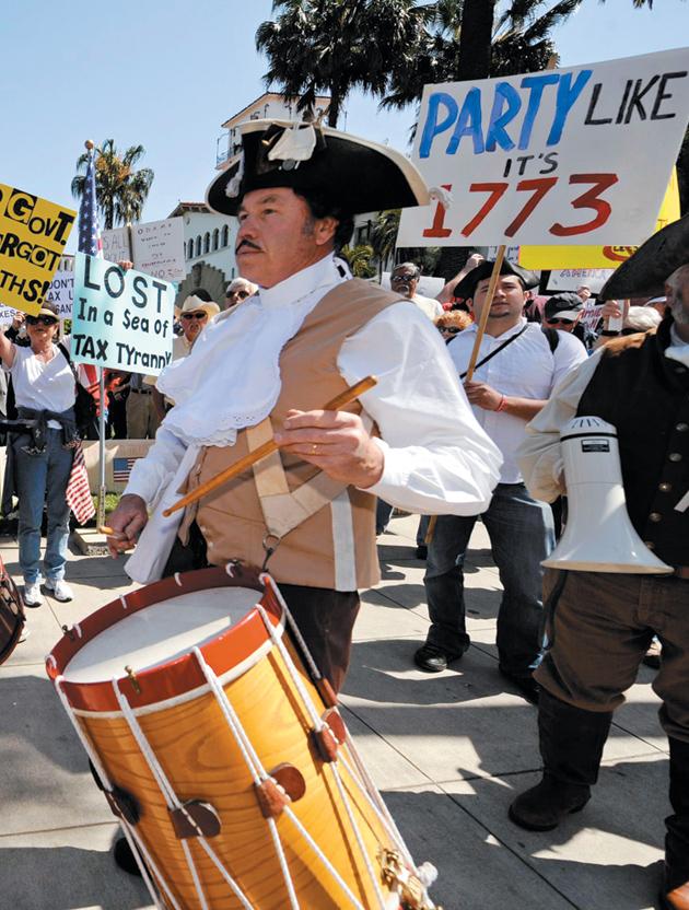 A tax revolt rally in Santa Barbara, California, April 4, 2009