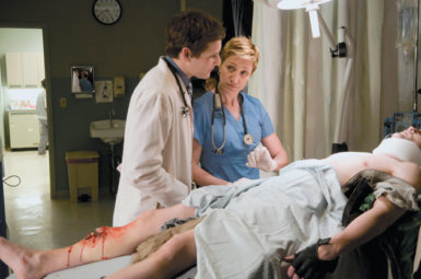 Peter Facinelli and Edie Falco in Nurse Jackie, June 2009