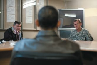 Barack Obama meeting with US Ambassador Karl Eikenberry and General Stanley McChrystal, Bagram Air Field, Afghanistan, March 28, 2010