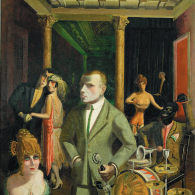 Otto Dix: To Beauty, 55 x 48 inches, 1922. The figure in the center is a self-portrait of Dix. For a slideshow of works discussed in this review, see the NYR blog, www.nybooks.com/blog.